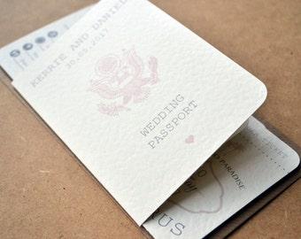 SAMPLE ONLY - Wedding Invitation - Personalised Destination Wedding Invitation Passport & Boarding Pass Suite including DL Kraft Envelope