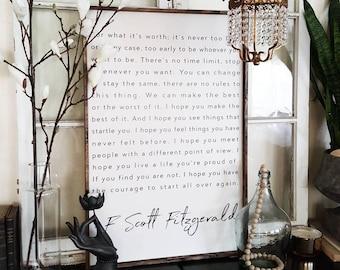 F. panneau de bois Scott Fitzgerald. Citations inspirantes. Décor rustique. Fixateur. Ferme moderne. Décor de ferme. Cadeau de pendaison de crémaillère.
