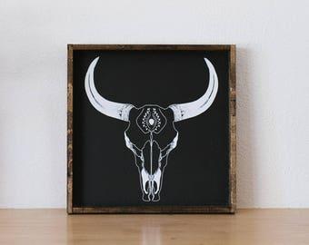Boho Cow Skull Wood Sign | Boho Style | Southwestern Decor | Farmhouse Style | Boho Decor | Eclectic Style | Modern Rustic Decor |