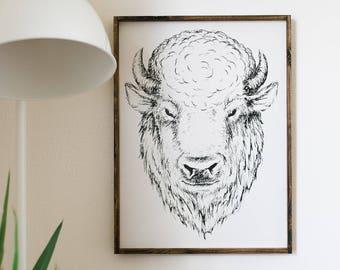 Earl Buffalo Wood Sign | Bison Decor | Southwestern Decor | Boho Style | Eclectic Decor | Fall Decor | Animal Art | Nursery Decor | Nature