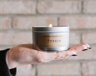 Soy Candle Fresca | Black Raspberry, Vanilla, Coconut Scented Candle | Teacher Gift | Hostess Gift | Gift For Her | Wood Wick Candle