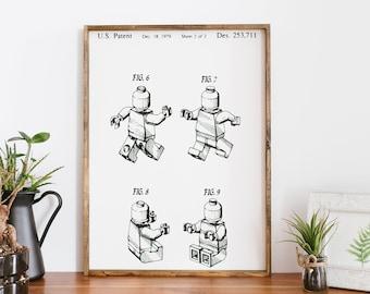 Lego Patent Wood Sign | Boys Room Decor | Lego Decor | Nursery Decor | Nursery Sign | Boys Decor | Gift for Him | Kids Room Decor
