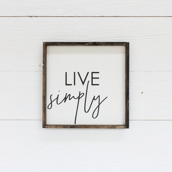 Live Simply Wood Sign Farmhouse Style Framed Wood Wall Art   Etsy