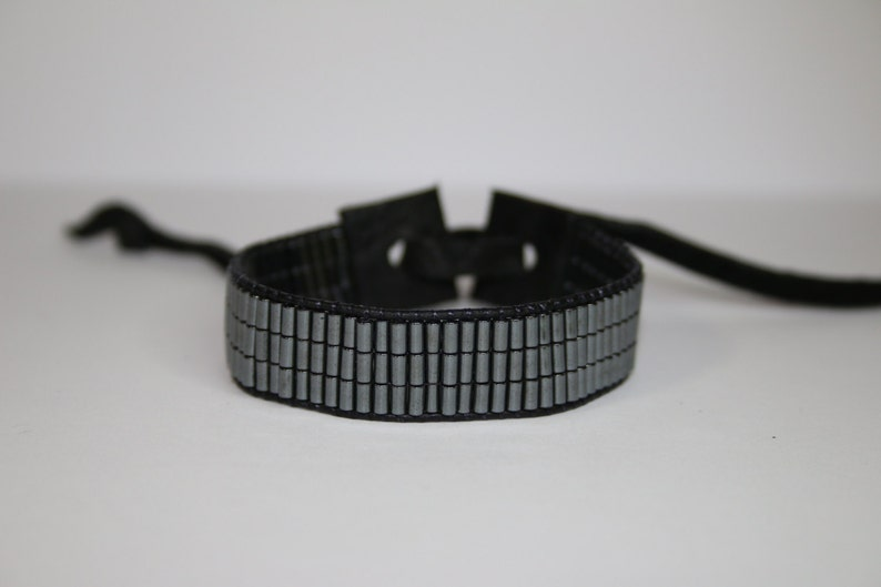 FreewheelingSpirit Hematite Mens Handmade Beaded Leather Tie Bracelet