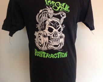 Live skull original promo T Shirt for 1989 positraction single, with Charles Burns art print.