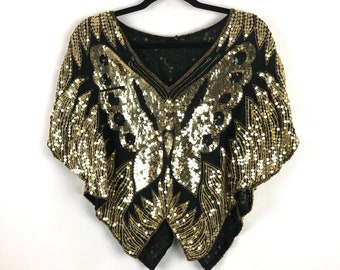 45a377a2ee1c Butterfly Sequin Silk Pure Black Gold Shirt Top Blouse M L Medium Large 70s  Vintage Festival Boho Hippie