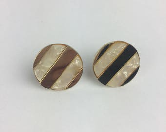 Vintage Cufflinks Gold Tone Mother of Pearl Round Striped wedding
