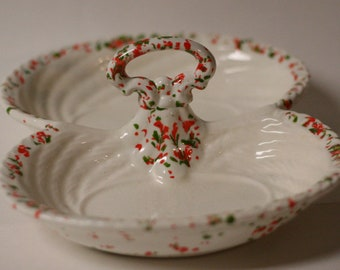 vintage christmas candy dish splatter speckled ceramic glaze white red green holiday retro - Christmas Candy Dishes