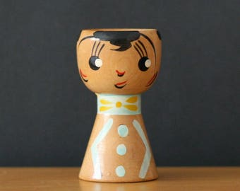 Wood Egg Cup with Face / Giftcraft / Black / Aqua / Yellow / Red / 1970's