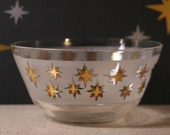Atomic Starburst Serving Bowl / Large / Frosted / Gold / Rare / Glass / Vintage