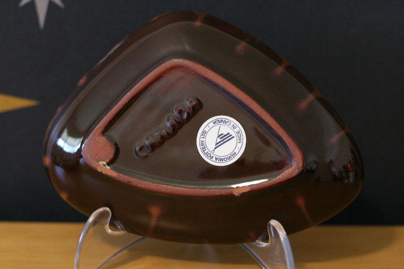 Huronia Pottery Ltd Ashtray  Brown  Cream  Caramel  With Label  Vintage  Canadian  Made in Canada