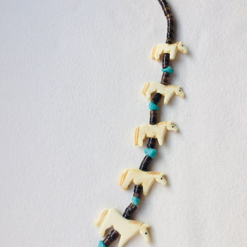 vintage Native American horse necklace carved bone heishi beads and turquoise nuggets