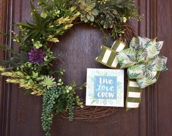 Succulent Wreath, Cactus Wreath