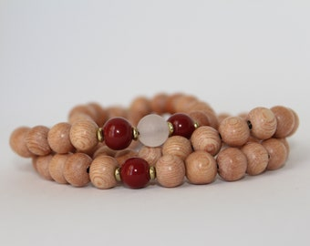 Ruby Rosewood Set, rose quartz, stacked bracelets, 8mm, elastic, gifts for him, gifts for her