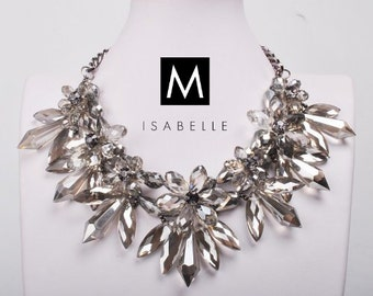The 'Lily' Floral Crystal Shourouk Statement Necklace Handcrafted Handmade Gemstone Bib Jewelry / Jewellery for Women