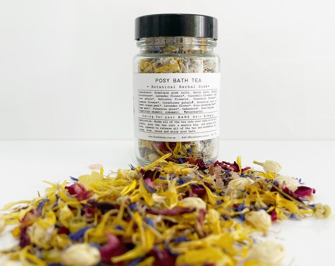 POSY BATH TEA  | Organic | Bath Soak, Bath Salts, Flowers, Herbs and Essential Oils with Epsom and Sea Salts, Soothing, Relaxing Pamper Gift