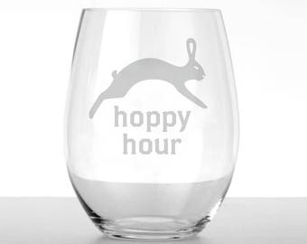 Hoppy Hour Hare Wine Glass Set