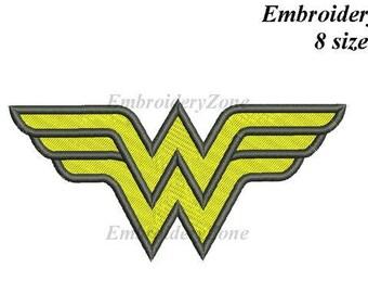 designs Logo Wonder Woman  machine embroidery design (Filled). Not APPLIQUE. 8 sizes. Embroidery pattern Wonderwoman Friend of Batman.