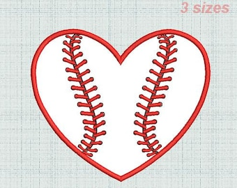 Baseball Heart  APPLIQUE machine embroidery design, Heart Baseball ball machine embroidery pattern.Embroidery heart, applique heart.3 Sizes