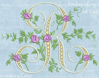 R Monogram Machine Embroidery Design Letter From Beautiful Alphabet Old Book Font Pattern Hoop 5x7 6x10 2 Sizes