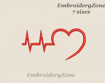 Heartbeat Line Machine Embroidery Design medical Heart beat EKG of heart embroidery pattern designs - 4x4 5x7 6x10. 7 sizes.