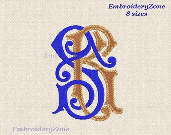Double Wedding Monogram S K Machine Embroidery Designs Sk Ks Etsy