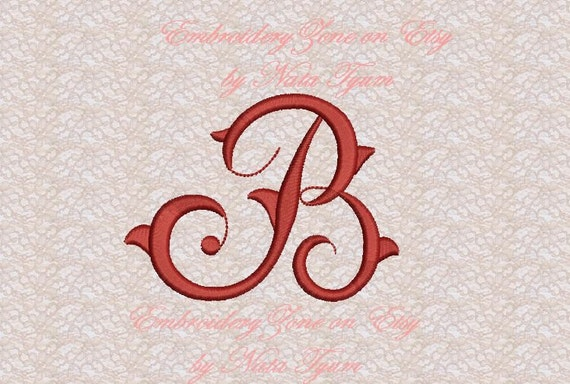 Vintage Monogram B Embroidery Design Initial Fancy Letter B Etsy