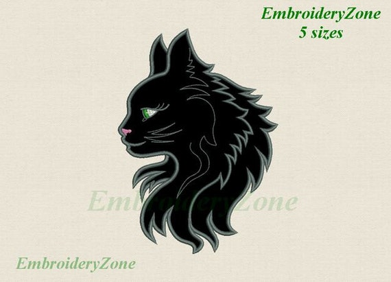 Black Cat Applique Machine Embroidery Design Kitty Cat Etsy