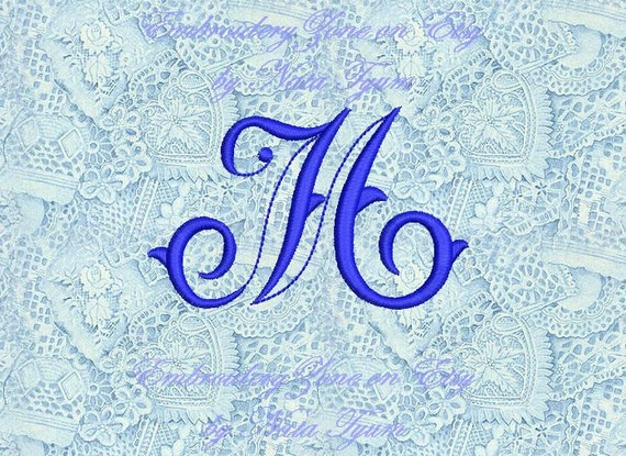 Vintage Monogram M Embroidery Design Initial Fancy Letter M Etsy