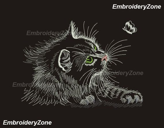 Nice Black Cat And Butterfly Outline Machine Embroidery Etsy
