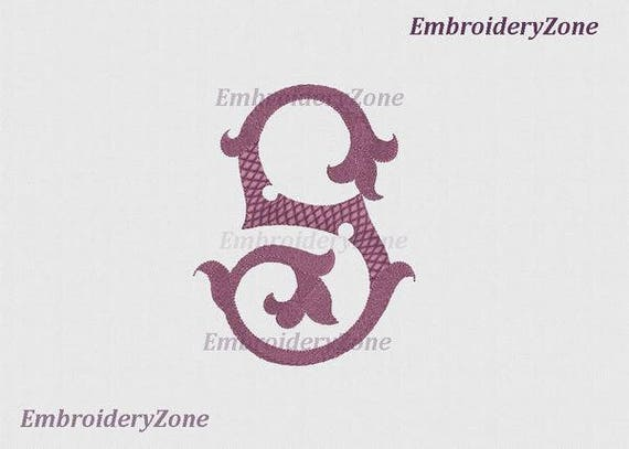 Vintage Monogram S 02 Machine Embroidery Design Old Style Etsy