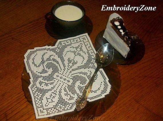 Fleur De Lis Fsl Embroidery Design Napkin With Ornament Fleur Etsy