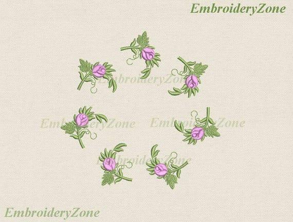 Machine Embroidery Design Mini Flowers Roses Bud Miniature Etsy