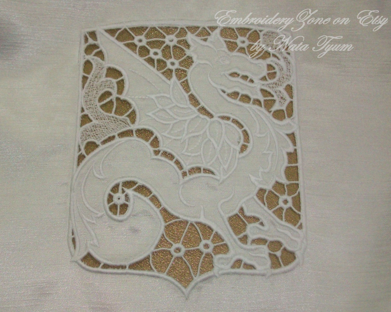 Dragon heraldic richelieu cutwork embroidery design machine etsy