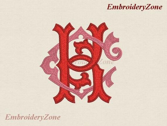 Double Wedding Monogram C K Machine Embroidery Designs Ck Etsy