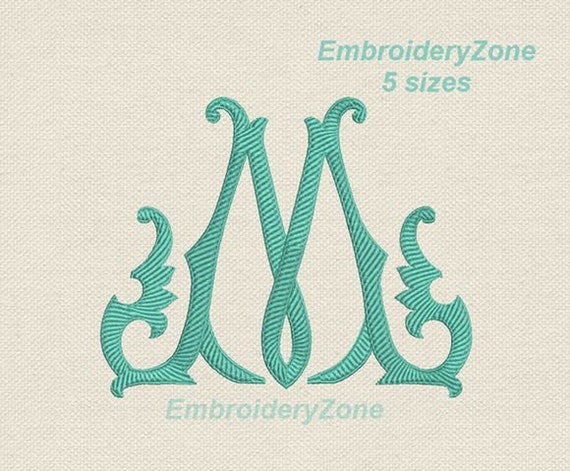 Machine Embroidery Design Birthday Monogram M 001 Old Style Etsy