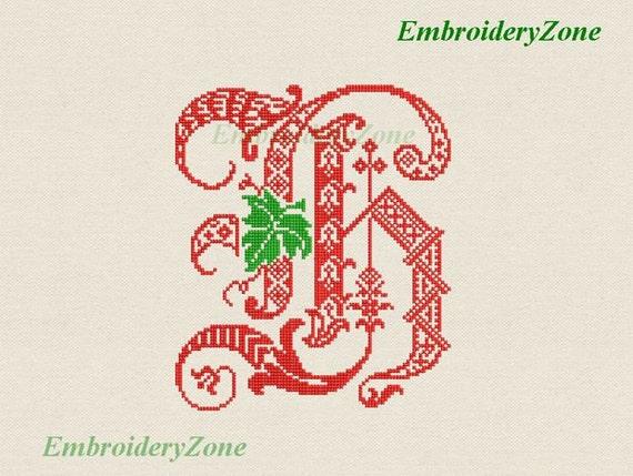 Dekor-Monogramm H mit Blatt-Stickmuster Buchstaben H aus | Etsy