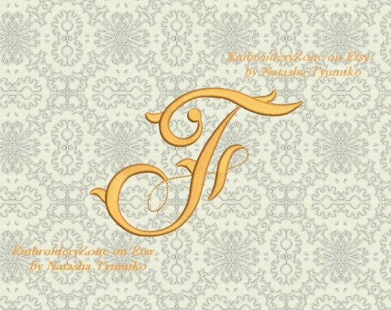Vintage Monogram F Embroidery Design Initial Fancy Letter F Etsy