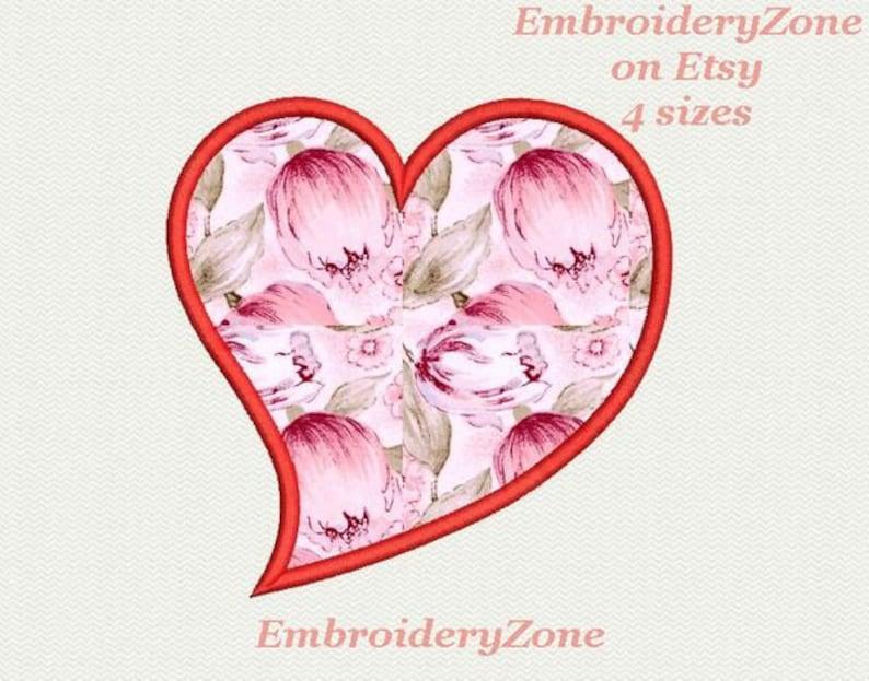 Twisted heart applique machine embroidery design valentine etsy
