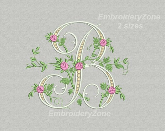B Monogram Machine Embroidery Design Letter B From Beautiful Etsy