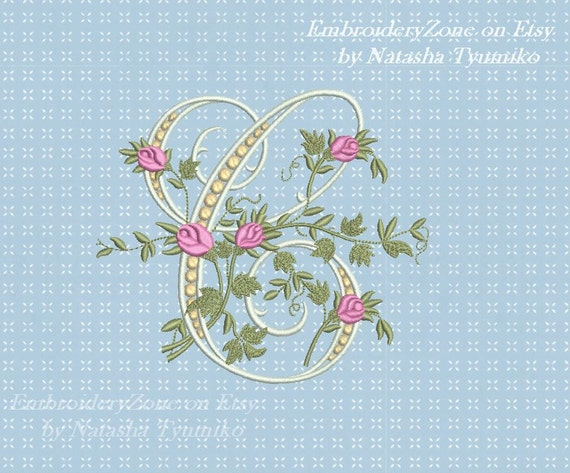 C monogram Machine Embroidery design letter C from beautiful alphabet from  old book Font C embroidery pattern  Hoop 5x7 6x10  2 sizes