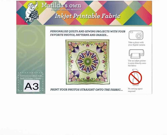 picture about Inkjet Printable Fabric titled Matildas Personal Inkjet Printable Cloth Sheets A3 Dimension (5 Sheets) 42cm x 30cm, Print visuals upon cloth