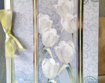 An A5 part glittered 3D decoupage greetings card on a white tulips theme