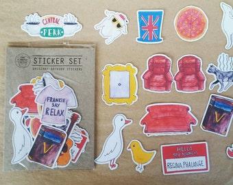 Friends TV Show Sticker Set - Original artwork, set of 17 stickers