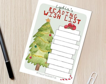 Xmas Book Wish List Reading/Book Tracker A6 Postcard - Reading challenge, TBR reading list, bookish gift, book lover stocking stuffer