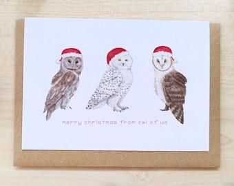 Happy Owlidays! Owl Christmas Card, Cute British Animals, Birdwatcher, Bird Lover, Woodland, Cottagecore Christmas