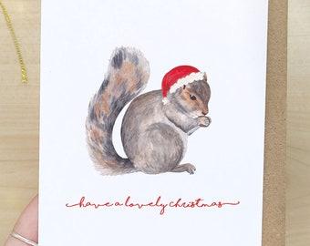 Squirrel Christmas Card - Cute Woodland Animal Card, British Animals, Animal Lover, Cottagecore Christmas