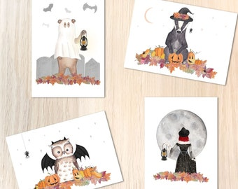 Halloween Animals Postcards - Cute Witchy Spooky Autumnal Animal Art, Watercolour Badger, Bear, Owl - Mini A6 Art Prints