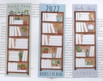 2022 Reading Tracker Bookmark - Bookshelf, Reader Progress Tracking, Book Tracking - Handmade Book Lover/Bibliophile Gift