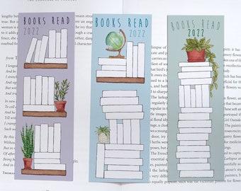 2022 Reading Tracker Bookmarks - Bookshelf, Reader Progress Tracking, Book Tracking - Handmade Book Lover/Bibliophile Gift